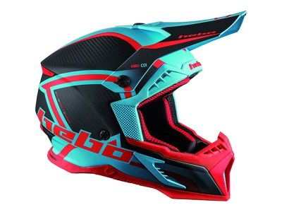CASCO HEBO MX LEGEND CARBON TURQUESA